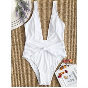 Other - White Plunging High Cut Padded One-Piece Swimsuit